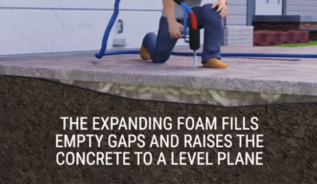 Foam can raise thousands of pounds of concrete easily