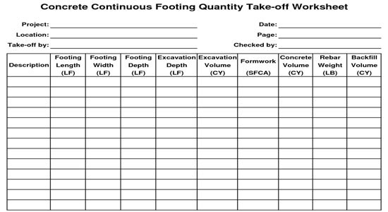 Quantity takeoff spreadsheet download concrete for Concrete estimate template