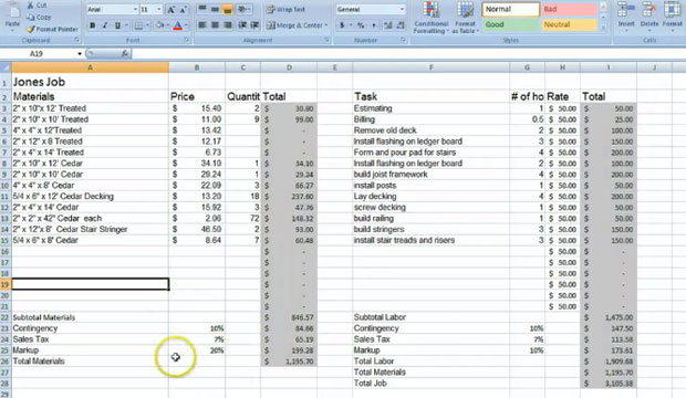 Free Download Estimation Spreadsheet and Learn To Estimate with Excel