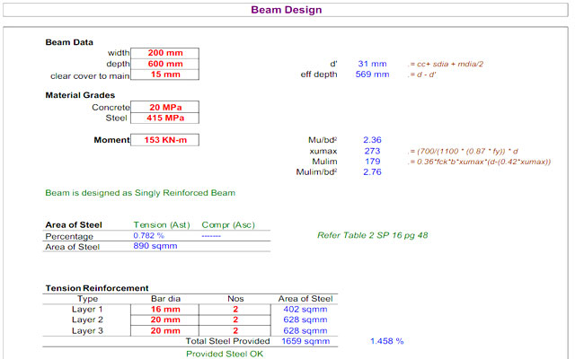 RCC Design Excel Sheet Download | RCC Building Design XLS