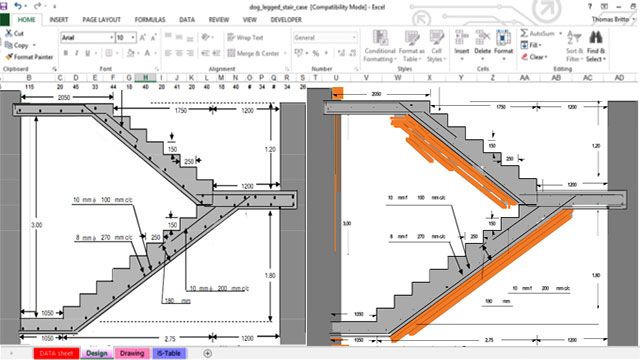 Spreadsheet For RCC Dog-legged Staircase Free Download