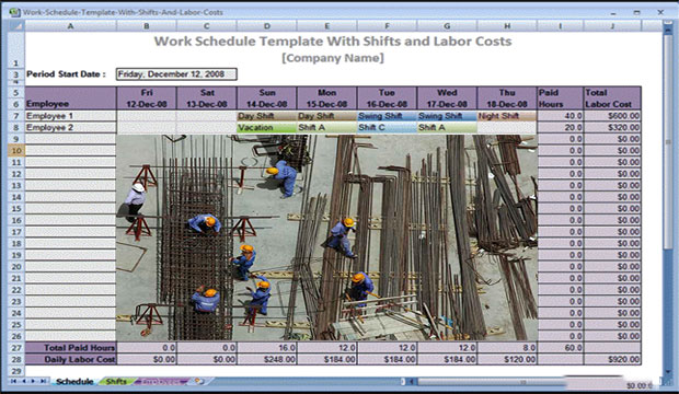 Labour Schedule Construction | Work Schedule Template Download