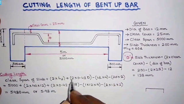 How To Calculate Cutting Length Of Bent Up Bar In Slab