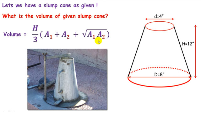 how to find volume of a slump cone