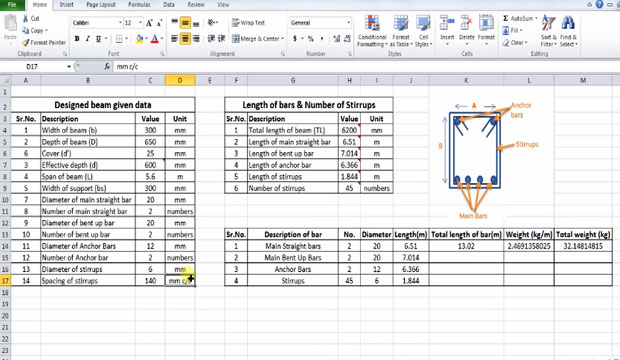 Learn the process of estimating the Quantity of steel or reinforcement for a beam using Microsoft Excel