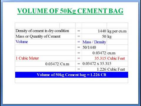 Method Of Calculation For The Volume Of Cement Bag